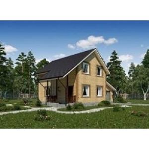 Загородный коттедж 80 м2 из газобетона с кирпичной облицовкой